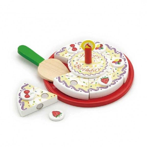 Wooden Birthday Cake Play Food